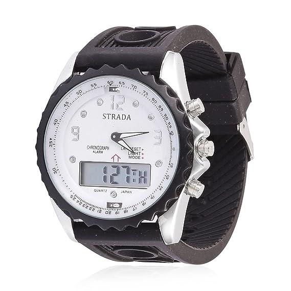 STRADA - Reloj Digital analógico con Correa de Silicona de Color Negro y Tono Plateado: Amazon.es: Relojes