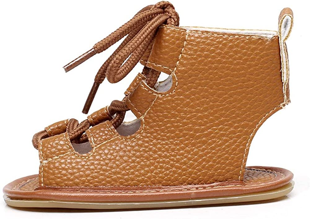FLT Gladiator Sandals Toddler Baby Girl Roman Sandles Flip Flops Hollow Out Boots Summer Shoes Brown