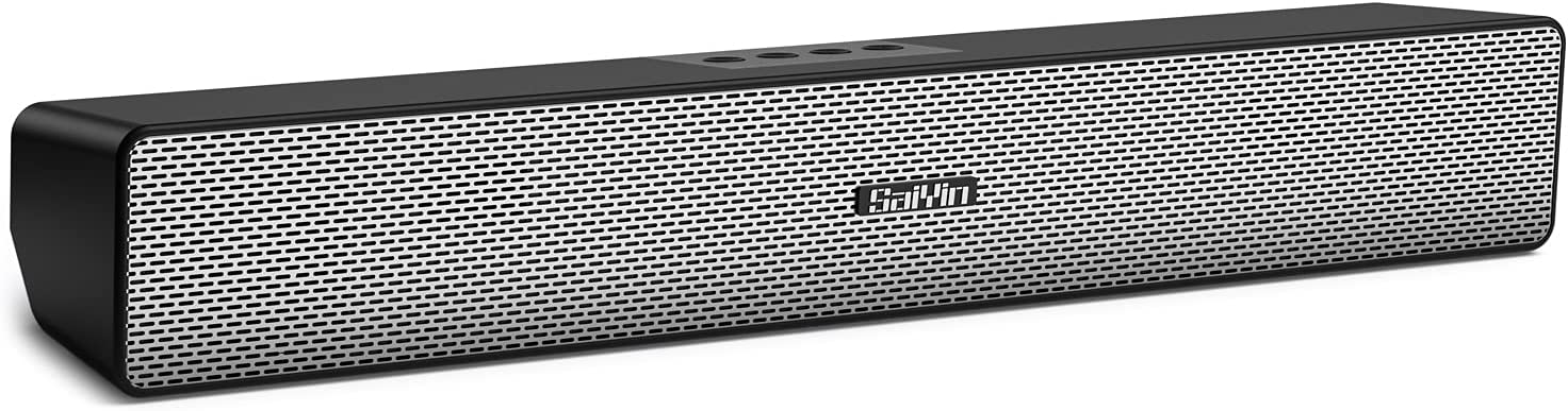 Computer Speakers, SaiYin Bluetooth 5.0 PC Speakers for Desktop, Laptop, Tablet, Cellphone with Portable Stereo USB Powered Speakers for TV, Gaming, Monitor, Projectors, Wired/Wireless Small Sound Bar