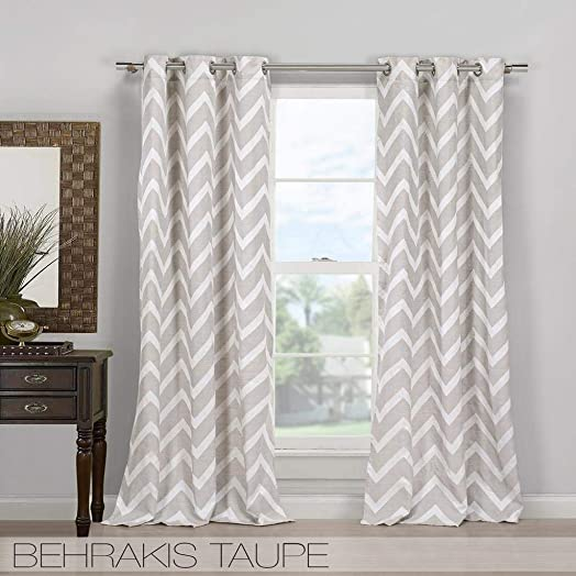Duck River Textiles – Home Fashion Chevron Linen Blend Grommet Top Window Curtains for Living Room Bedroom – Assorted Colors – Set of 2 Panels 40 X 84 Inch – Taupe
