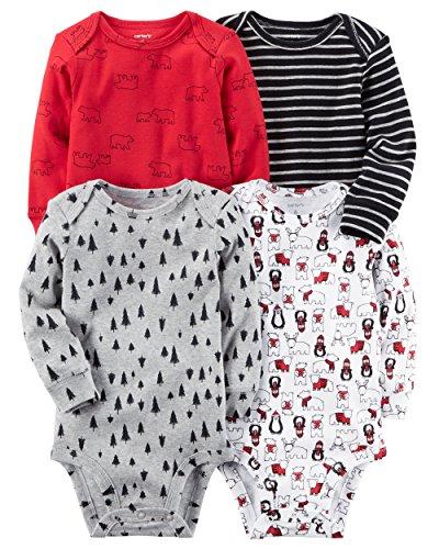 Carter's Baby Boys' 4-Pack Long Sleeve Original Bodysuits 6 Months