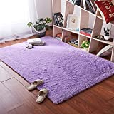 Softlife Area Rugs for Bedroom - 4' x 5.3' Shaggy Floor Carpet Cute Nursery Rug for Living Room Girls Room Home Decor, Purple
