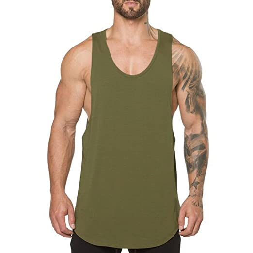 1d16dcb39 ZUEVI Men's Muscular Cut Open Sides Tank Tops Bodybuilding T-Shirts(Army  Green-