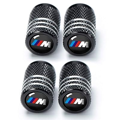 Soniubia 4Pcs Black Metal Tire Valve Stem Caps with Logo(BMWs M): Automotive