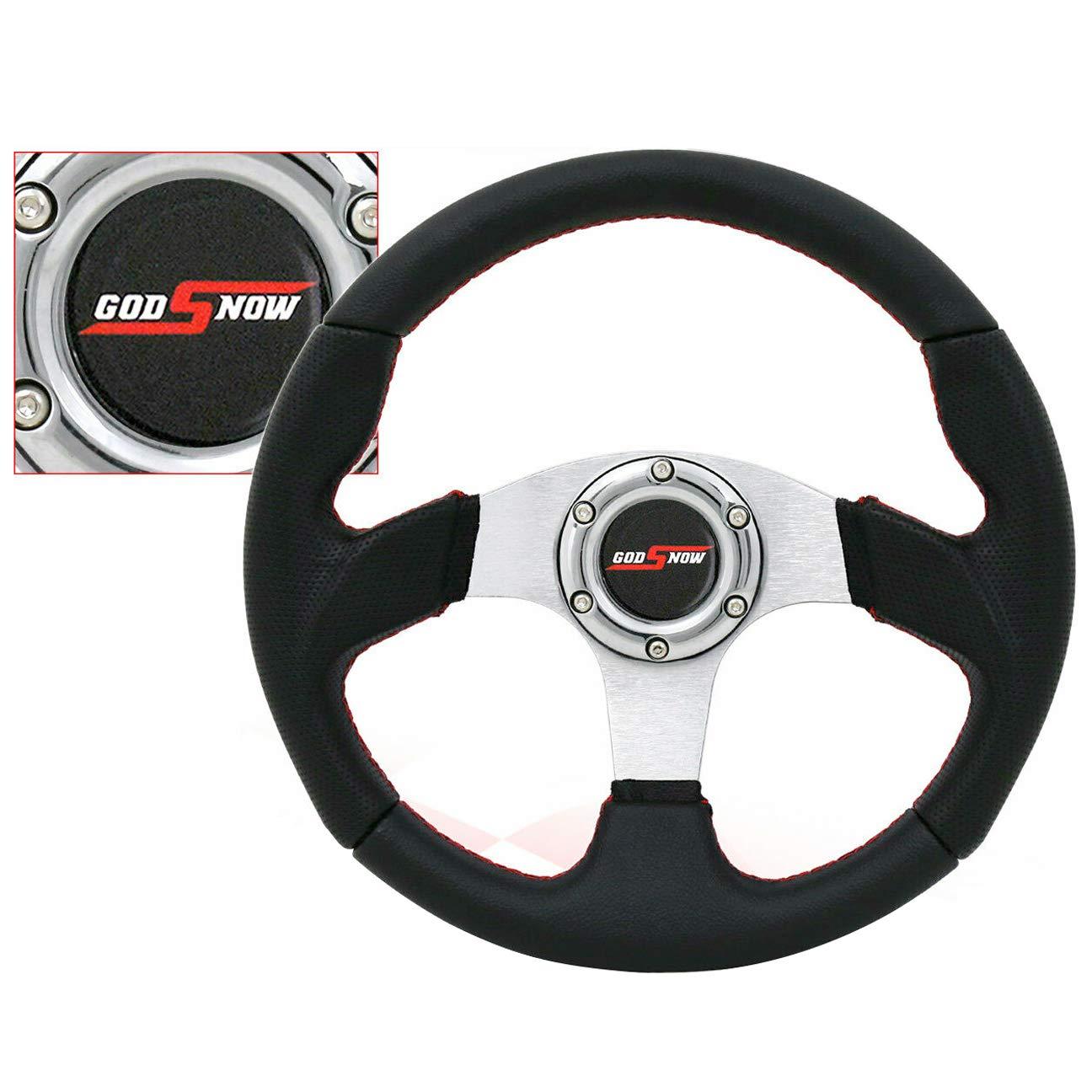 Rxmotor Universal Fit 320mm JDM Battle Racing Flat Steering Wheel New (Black v1)