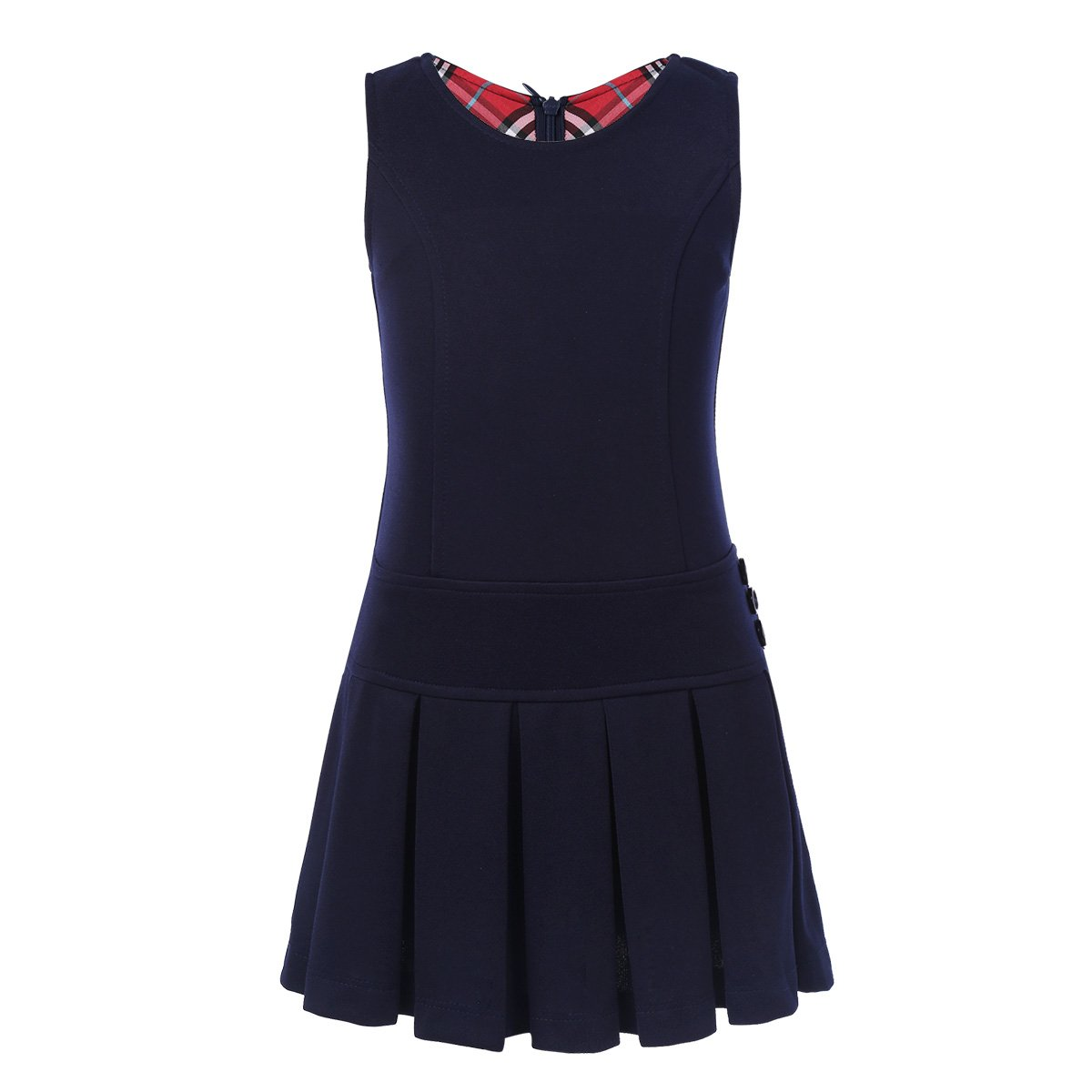 YiZYiF Girls' Kids' Stretchy Pleated Hem Durable School Uniform Jumper Dress Skirt Size 2-9 Navy Blue 7-8
