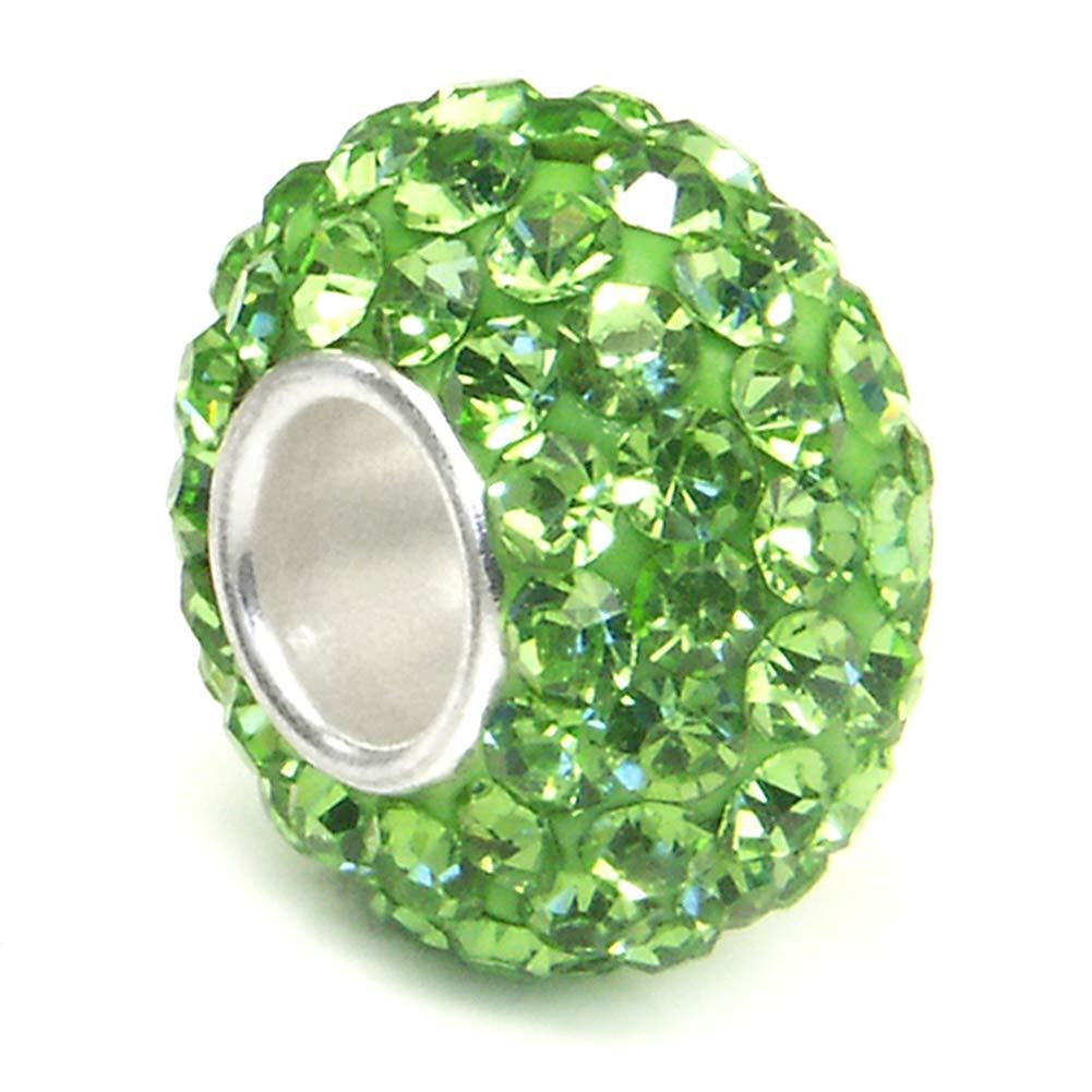 Metal Factory (1 Pc) Peridot Green Crystal Ball Bead Sterling Silver Charm