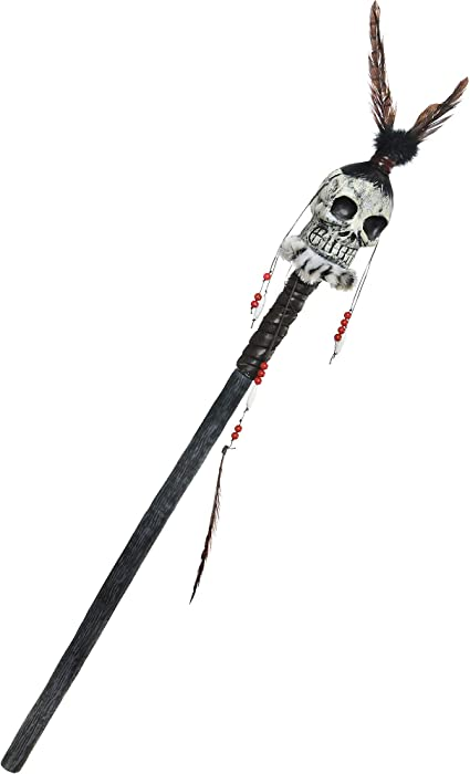 Mens Ladies Voodoo Cane Witch Doctor Stick Fancy Dress Costume Accessory Prop