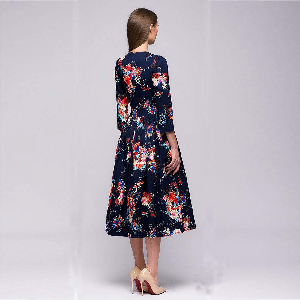 afbeca9f6fc Amazon.com  Womens Dresses Clearance Sale! Women s 3 4 Sleeve Floral  Printing Long Sleevel Retro Party Long Maxi Dress  Clothing