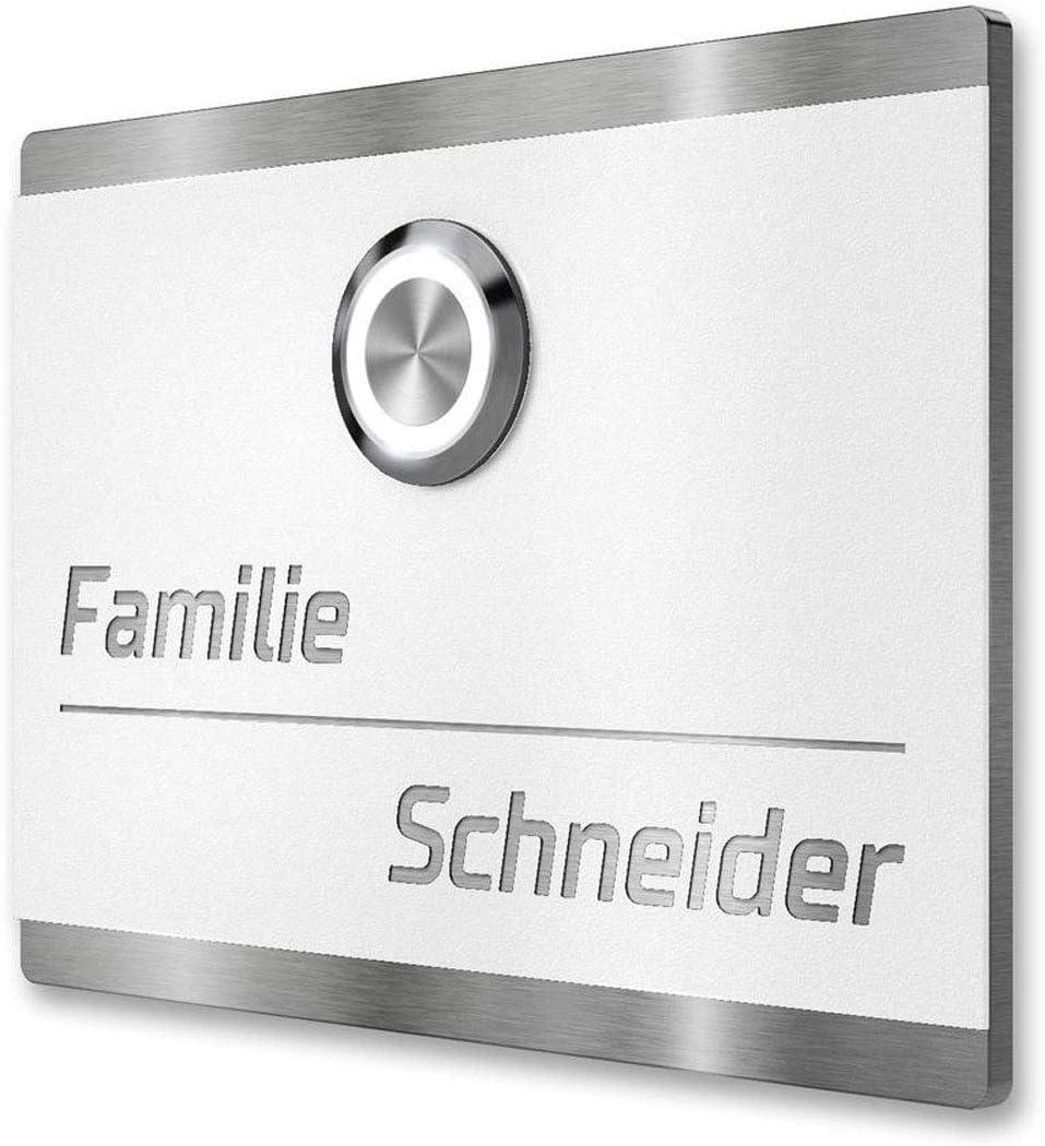 Metzler LED-Türklingel Haustürklingel aus Edelstahl weiß beschichtet: Amazon.de: Beleuchtung - Türklingel Funk