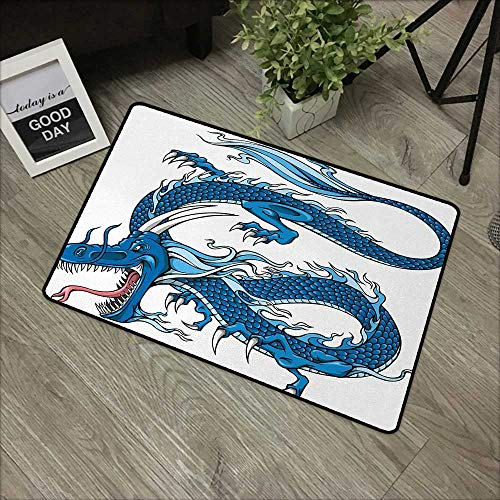 (Bathroom mat W31 x L47 INCH Fantasy,Legend Dragon Mythical Creature Japanese Culture Folk Icon Print,Dark Blue Light Blue White Our Bottom is Non-Slip and Will not let The Baby Slip,Door Mat Carpet )