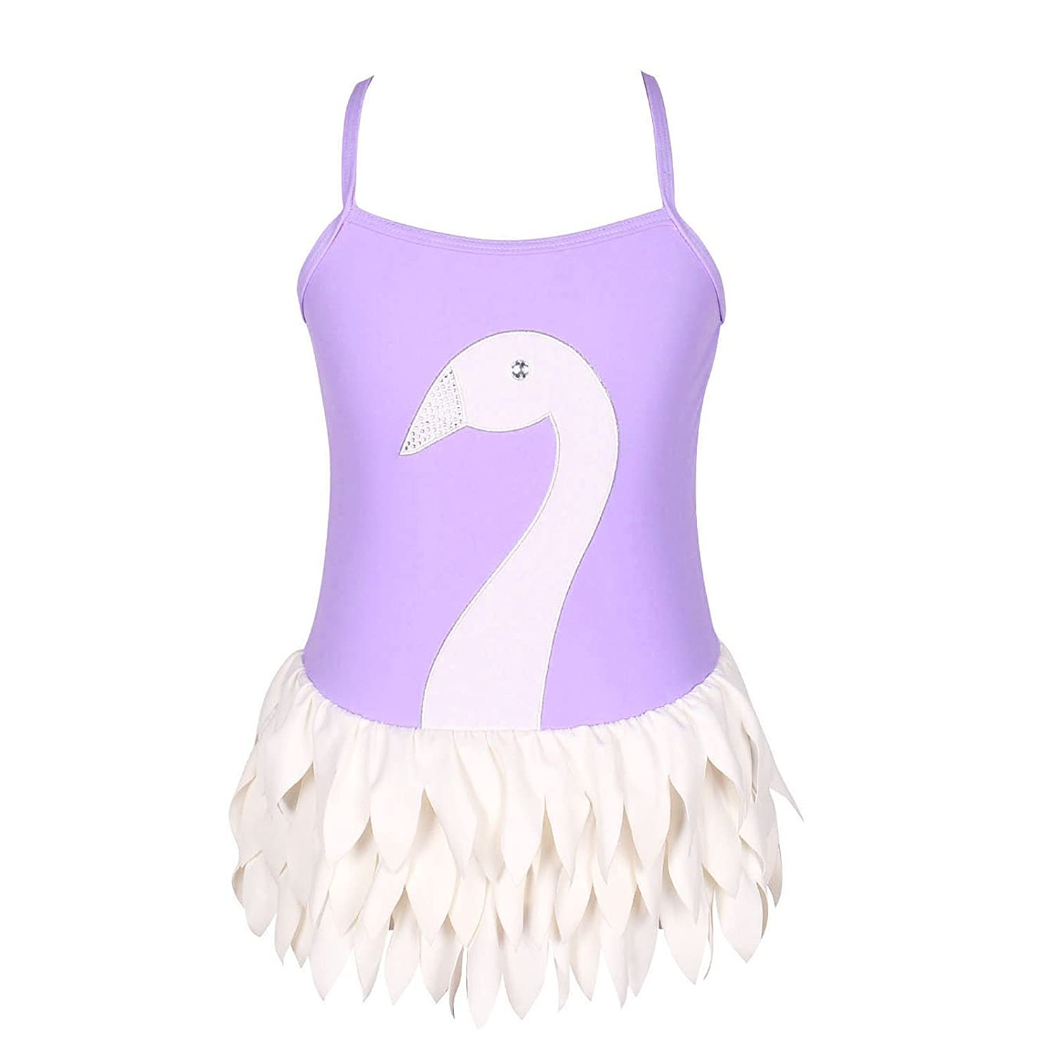 qyqkfly Girls Swan Adjustable Strap 3Y-12Y One Piece Ballet Swimsuit