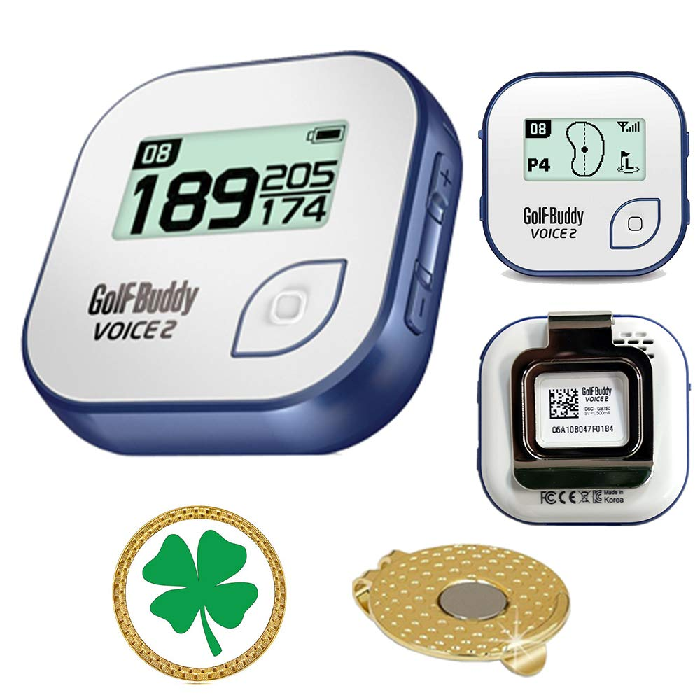 AMBA7 GolfBuddy Voice 2 Golf GPS/Rangefinder Bundle with Magnetic Hat Clip Ball Marker (Clover)