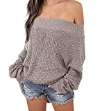 Exlura Women's Off Shoulder Batwing Sleeve Loose Oversized Pullover Sweater Knit Jumper - Khaki, S/M/L(8/10/12)