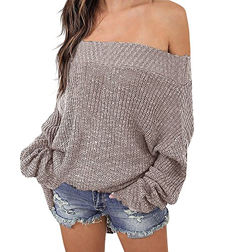 Exlura Women's Off Shoulder Batwing Sleeve Loose Oversized Pullover Sweater Knit Jumper - Khaki, 2XL/3XL(18/20) ()