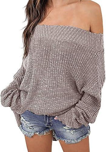 Exlura suéter tejido con hombro caído, con manga murciélago, amplio, para mujer.