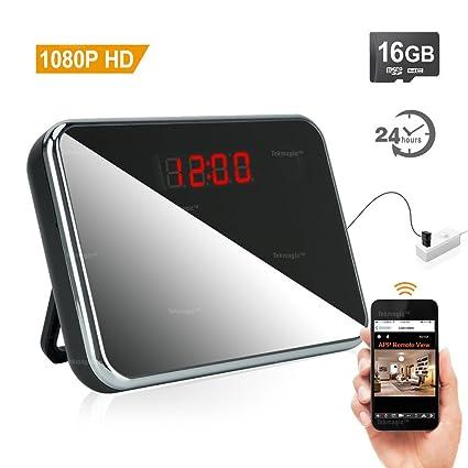 TEKMAGIC 16GB Mini Camara Eespía Red de WiFi Reloj Detección de Movimiento DV Videocamara 1920x1080P HD