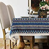 Bringsine Washable Cotton Linen Lace Bohemian Style Geometric Design Square Tablecloth Dinner Picnic Table Cloth Home Decoration Assorted Size