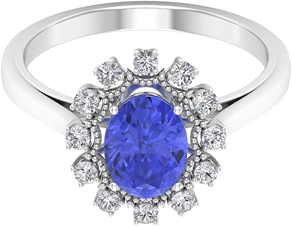Engagement Ring December Birthstone 14k Solid Gold Natural Tanzanite Diamond Ring Promise Band Gift Idea Beautiful Oval Gemstone Ring