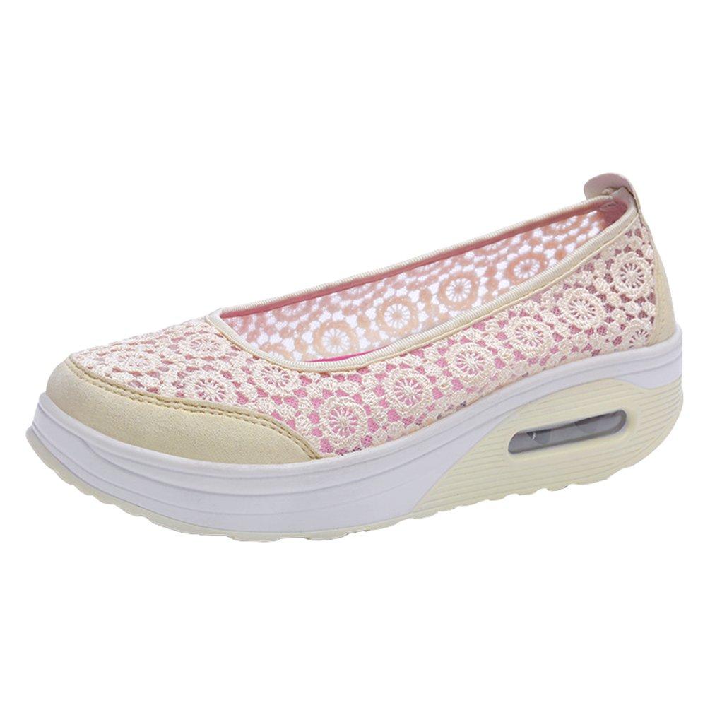 Yiiquanan Damen Atmungsaktiv Netz Spitze Plateau Freizeitschuhe Sportschuhe Keilabsatz Air Cushion Loafers Walkingschuhe  39.5 EU|Beige