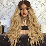 BlondeVirgin Peruvian Human Hair For Black Women Loose Wave Two Ombre 1B 613 Full Lace Human Hair Wigs With Baby Hair Blonde Lace Front Wigs (22 Inch, full lace wig)