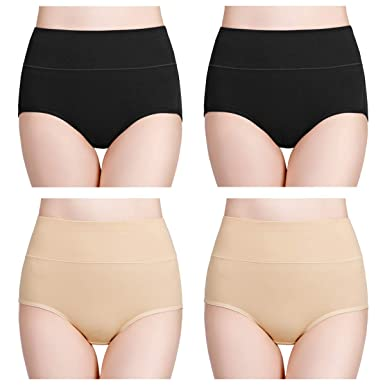 d033ff4d9f82 wirarpa Women's Soft Cotton Knickers High Waisted Full Briefs Panties Ladies  Stretchy Pants Underwear Black and