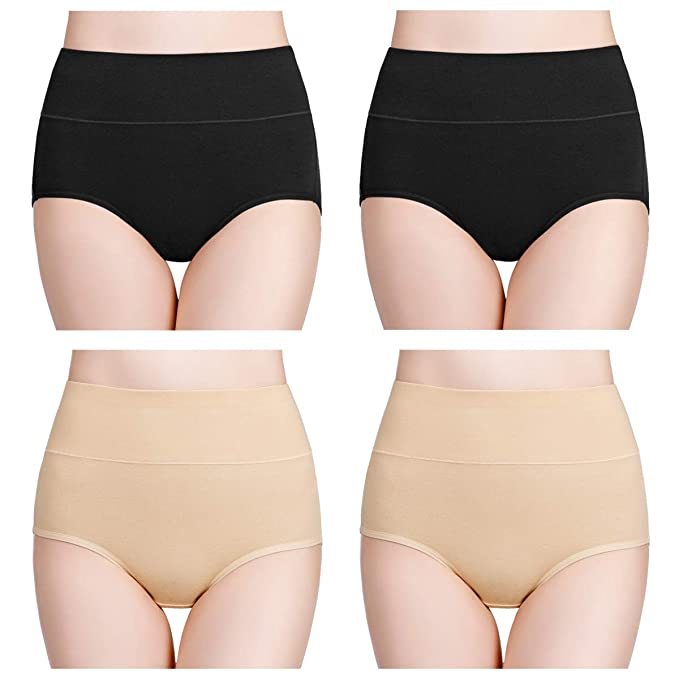 a6d171897f4 wirarpa Womens High Waisted Cotton Underwear Full Brief Panties Ladies No  Ride Up Underpants 4 Pack