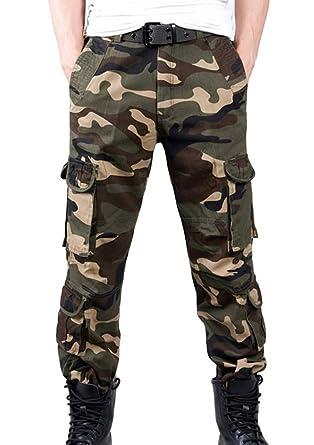 c297fd61936 FEOYA - Pantalon Cargo Homme en Coton pour Loisir et Travail - Pantalons  Longs Camouflage en