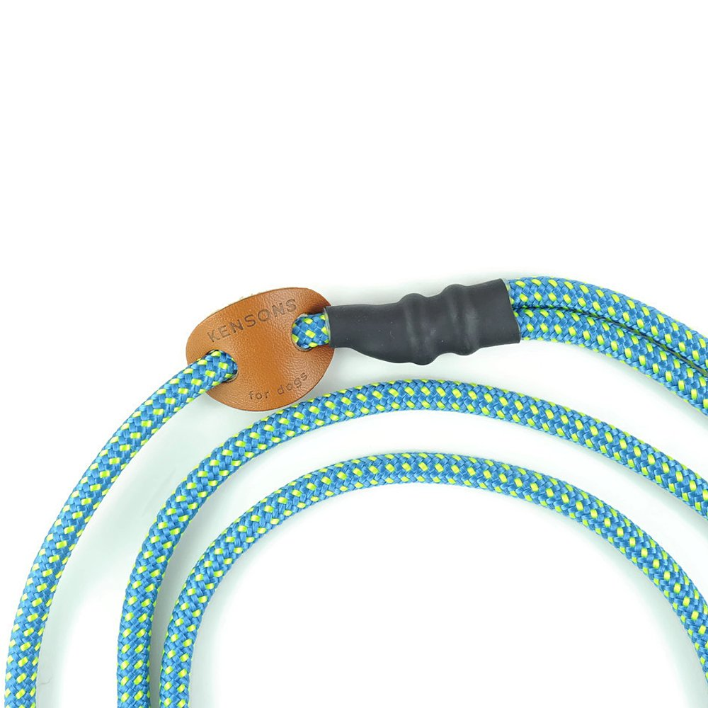 MOXON LEAD KENSONS for dogs RETRIEVER LEASH integrated Collar Agility Lead WITHOUT stop made of stag Field Trial Dog Leash Sporty -BLUE-YELLOW-POINTED- /Ø6mm Adjustable Round Rope Lead
