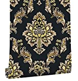 HaokHome 361101 Luxury Heavy Texture Damask Wallpaper Black/Gold/Brown for Home Accent Wall 20.8''x 31ft