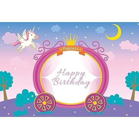 OERJU 2,2x1,5m Cumpleaños Fondo Dibujos Animados Princesa ...