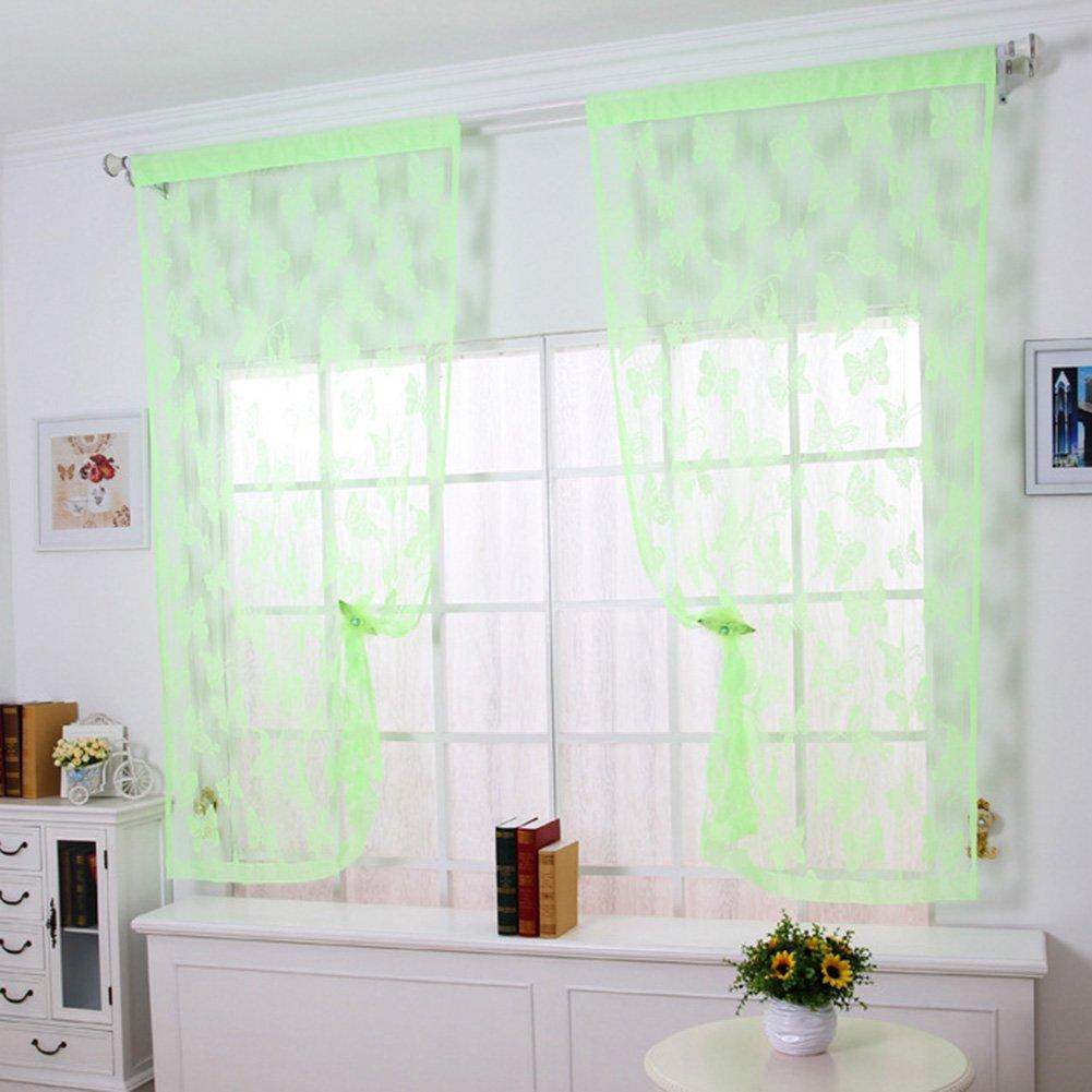 Black quanjucheer 1pcs Door Window Butterfly Pattern String Curtain Home Room Modern Divider Drape Translucent Ventilation size 100cm x 200cm