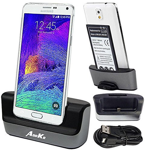Galaxy Note 4 Charger, Galaxy Note 4 Battery Charging Dock, AnoKe USB 3.0 9pin Dual Sync Desktop Dock Charger Cradle Holder Pad for Samsung Galaxy note 4 - Support Charging Spare Battery DOCK