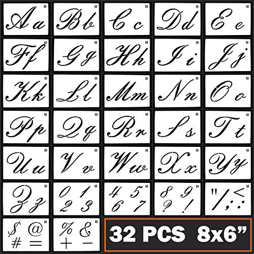 Caligraphy Stencil Letters Cursive Alphabet Letter Number Drawing Painting Stencils Scale Template Sets for Bullet Journal Stencil Planner / Scrapbook / DIY Painting Craft for Painting on - Cursive Letter