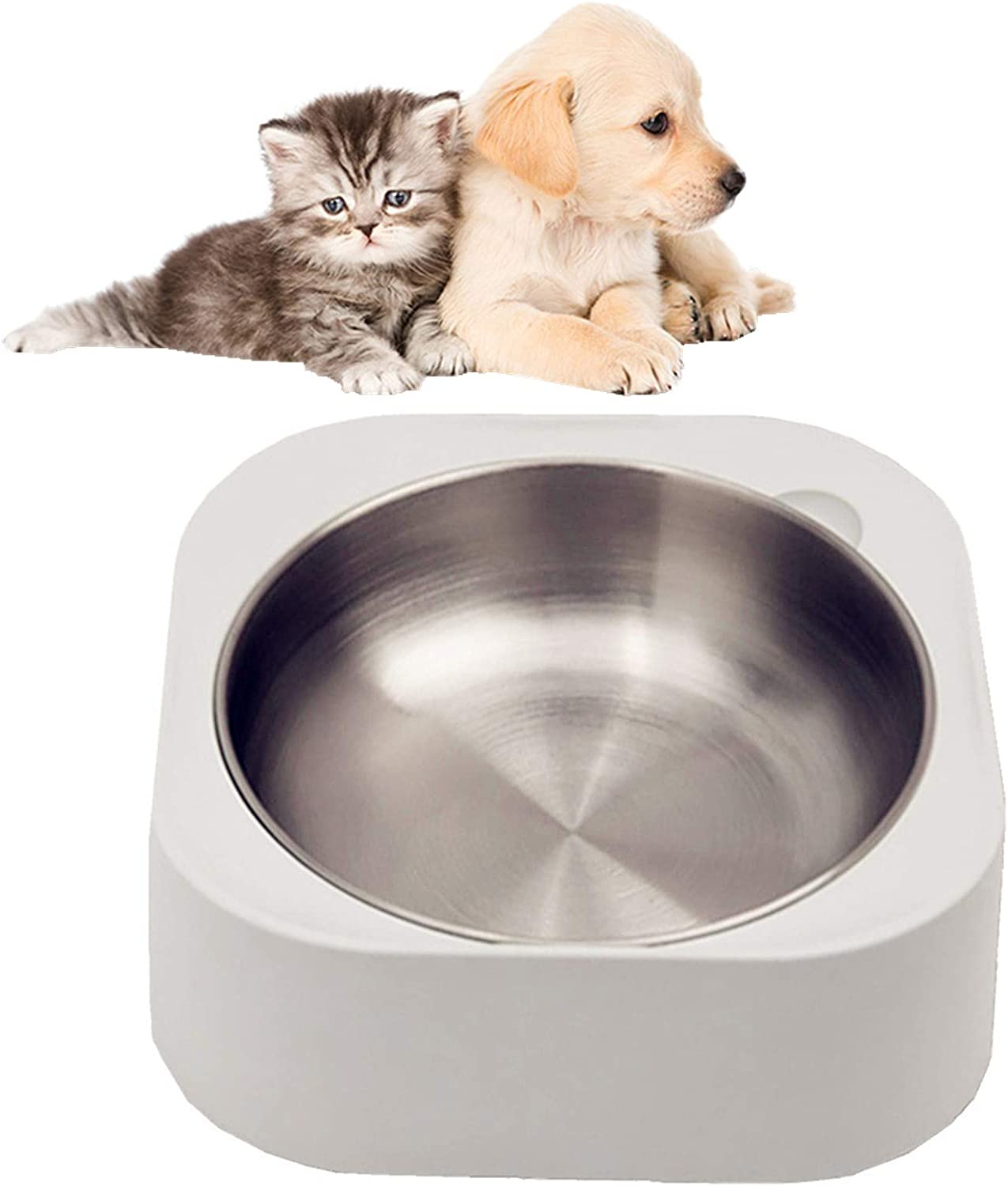 Cat Dog Food Bowls:Slanted Cat Bowls for Food and Water,Stainless Steel Dog Bowl with Heavy Stand for Cats and Small Dogs,Non-Slip Non-Spill and Easier to Reach Food