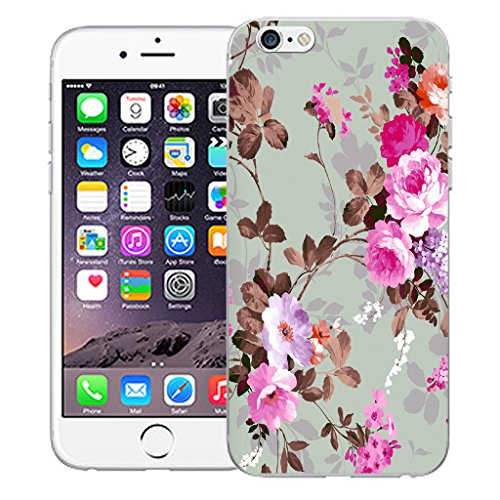 """Mobile Case Mate iPhone 6S 4.7"""" Silicone Coque couverture case cover Pare-chocs + STYLET - Pink Rose pattern (SILICON)"""