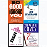 7 Habits of highly effective people personal workbook, so good they can't ignore you, drive, life leverage 4 books collection set