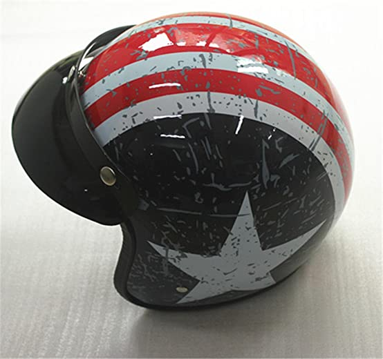 Amazon.com: 3-snap casco open face vintage motorcycle helmets visor helmet peak scooter jet chooper helmet visor sun shield: Automotive