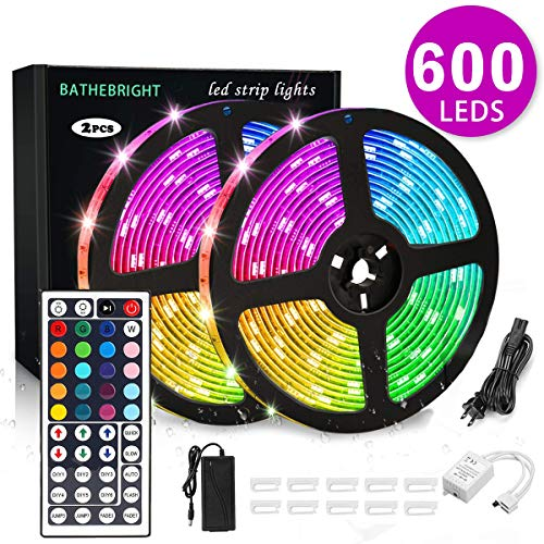 BATHEBRIGHT Led Strip Lights Waterproof 600Leds 32.8ft 10m Waterproof Flexible Color Changing RGB SMD 5050 600Leds LED Strip Light Kit 44 Keys IR Remote Controller 12V 6A Power