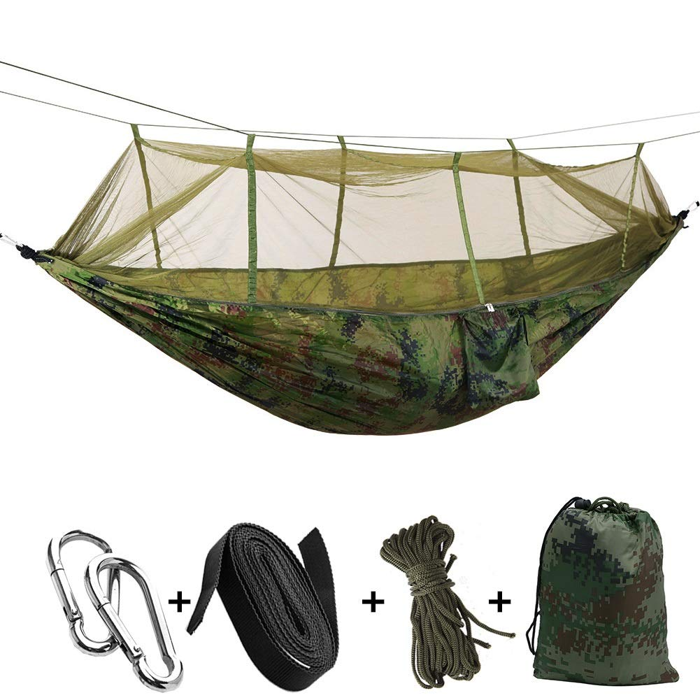 Jx Multi-Color Mosquito Parachute Cloth Light and Breathable Wild Camping Aerial Tent Swing Outdoor Travel Hammock Camping Hiking Hammocks & Loungers (Color : Camouflage) by Jx