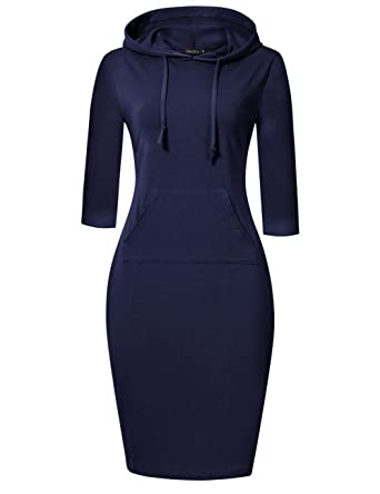 196c98c02328 GloryStar Women s Casual Fitted Long Sleeve Pullover Pocket Knee Length Sweatshirt  Hoodie Dress (S