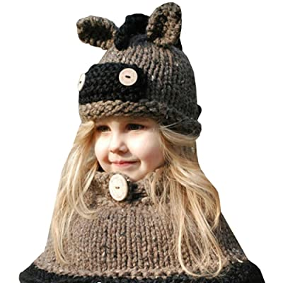 Amurleopard Baby Kids Winter Warm Beanies Knitted Hats Animal Ear Scarves Beanie