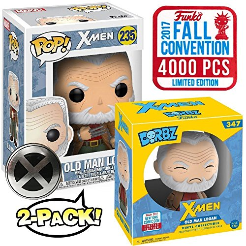 Funko Pop Dorbz Marvel X-Men # 235 Old Man Logan (Wolverine) NYCC Fall Convention 2017 Vinyl Figure Set with Exclusive Pin Button
