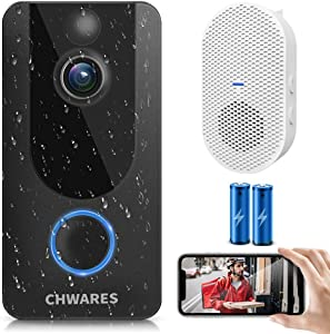CHWARES 1080P Smart Video Doorbell Camera with Chime, Wireless Wi-Fi Smart Video Doorbell Security Camera with Motion Detection, 2-Way Audio, Night Vision, Weather Resistant (Free Cloud Storage)