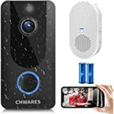 CHWARES 1080P Smart Video Doorbell Camera with Chime, Wireless Wi-Fi Smart Video Doorbell Security Camera with Motion…
