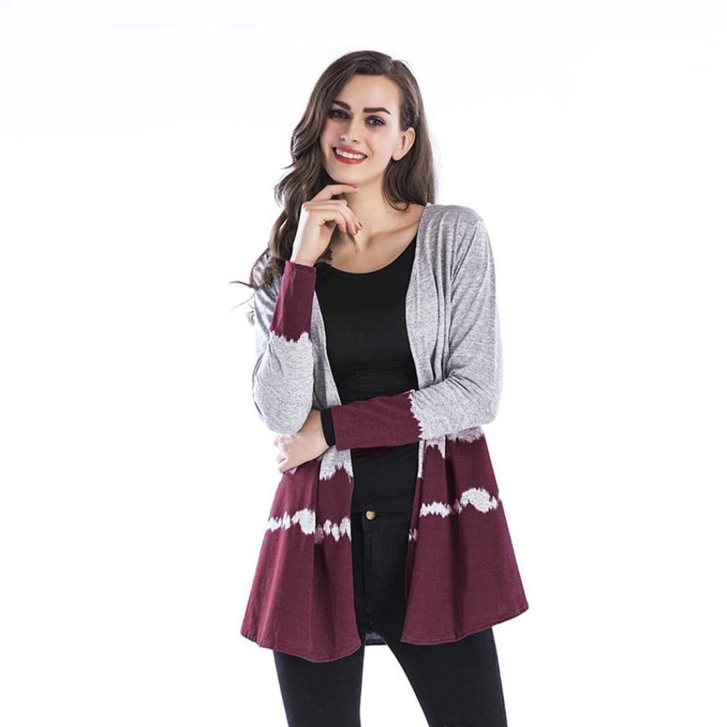 Pandaie Womens Jacket,Women's Gradient Tops Casual Collarless Coat Weave Cardigan