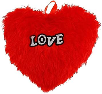 Jassi Toy Printed Heart Shaped Cushion Stuffed Hanging Toys with Filling Covers (Red, 13x11 cm)
