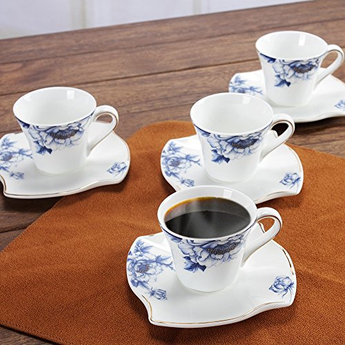 Porlien Elegance Collection Blue Floral Gold Trimmed Porcelain Espresso Cups/Demitasse Cups& Saucers Set -2.8 Oz, Set of 4, for Teatime, Tea Party or Home Decor