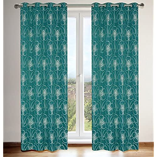LJ Home Fashions Tania Faux Silk Vintage Floral Grommet Curtain Panels Set Of 2 54x95 In Ocean Blue White