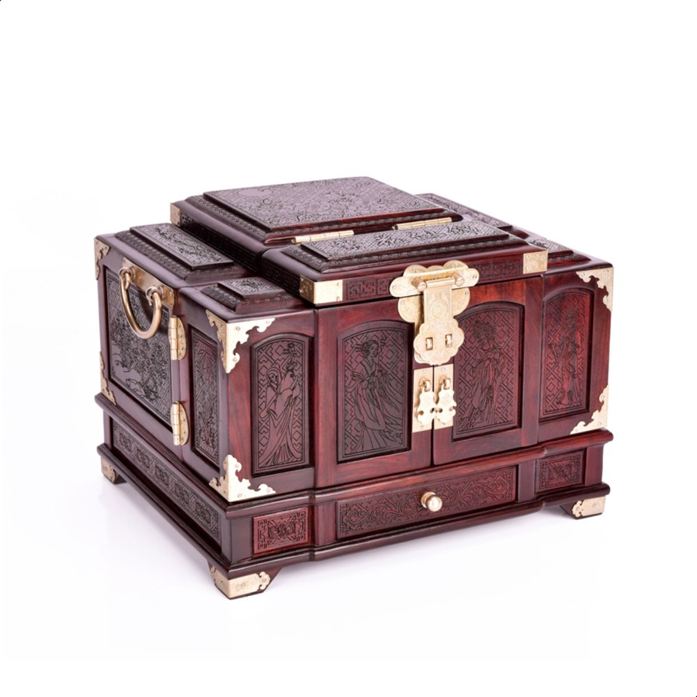 Wood classical Wedding Red Jewelry Boxes